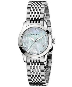 Gucci Watch, Women's Swiss Stainless Steel Bracelet 27mm YA126504 - All Watches - Jewelry & Watches - Macy's