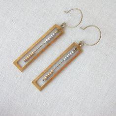 Geometric Earrings ~ Long Brass Rectangle Charm and Mixed Metal Bead Bar