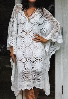 FairyTale Womans Boho Crochet Dress. Beautifully Crochet Dress Comfortable and Soft. Measurements: Bust: 56 Around (142 CM) Length: 39 (99 CM) Care: