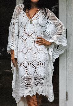 FairyTale Womans Boho Crochet Dress. Beautifully Crochet Dress Comfortable and Soft. Measurements: Bust: 56 Around (142 CM) Length: 39 (99 CM) Care: