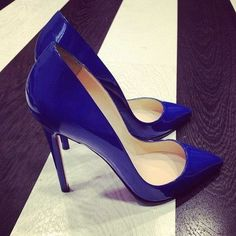 7283044f4a44 Royal Blue Patent leather point toe no platform high heels shoes pumps  christmas gift party heels(China (Mainland))