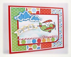 You can do it! by Taylor VanBruggen Happy Birthday Banners, Birthday Cards, Aeroplane Flying, Airplane Banner, Alleyway, Paper Smooches, Sky And Clouds, Lawn Fawn, Kids Cards