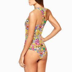 5015b0b59d 1 Pc. Swimsuit - Emoji Print