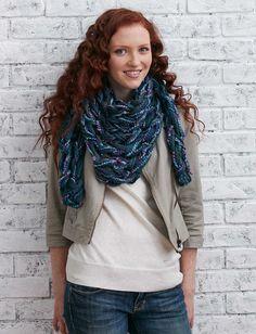 Patons Arm Knit Triangular Kerchief   | Yarnspirations #armknitting #knit