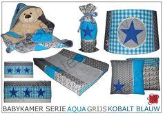 Babykamer aankleding aqua blauw, grijs en kobalt blauw accent