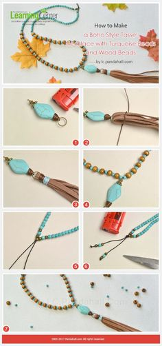 How to Make a Boho Style Tassel Necklace with Turquoise Beads and Wood Beads Leather Jewelry, Boho Jewelry, Jewelry Crafts, Beaded Jewelry, Jewelery, Jewelry Necklaces, Jewelry Design, Fashion Jewelry, Jewellery Box