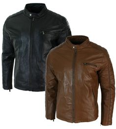 Mens Slim Fit Black Tan Brown Real Leather Biker Jacket Zipped Vintage Retro | Clothes, Shoes & Accessories, Men's Clothing, Coats & Jackets | eBay!