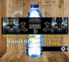 black panther bday party water labels - Google Search