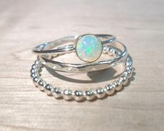 Opal ring Stacking Set Sterling silver opal by AWildViolet // with beaded and hammered stacking rings // size 7