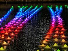 Voyage: A Fleet of 300 Illuminated Boats in Canary Wharf