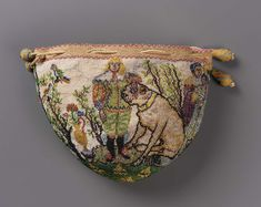 Drawstring bag ~ France ~ 1625-1650 ~ Glass beads strung on linen (sablé) ~ silk netting and braided cords ~ Museum of Fine Arts, Boston