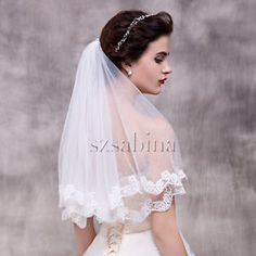 New white/Ivory Beautiful short Length Lace Edge Wedding Bridal Veil With Comb