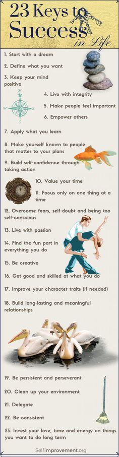 Success tips for business, career, and life! Keep yourself motivated and confident with the 23 keys to success on this inspirational infographic. Self help Successful winning Life self improvement Inspirational Quotes About Success, Success Quotes, Motivational Quotes, Career Quotes, Business Quotes, Quotes Dream, Life Quotes, Work Quotes, Friend Quotes