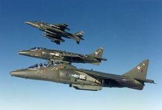 British Royal Air Force Harrier GR7A fighter-bomber jump jets
