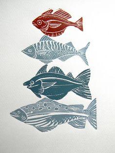 Four Fish-Lino Print by Mangle Prints, via Flickr