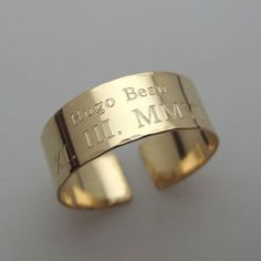 Personalized Gold Rind  Custom Rings  Gold by EngravedJewelry