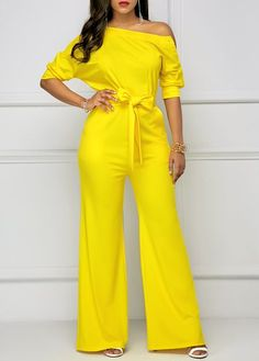 Women's Half Sleeve Skew Neck Belted Yellow Jumpsuit in Clothing, Shoes & Accessories, Women's Clothing, Jumpsuits & Rompers Yellow Jumpsuit, Jumpsuit Outfit, White Romper, Classy Outfits, Chic Outfits, Jumpsuit Elegante, Jumpsuit With Sleeves, Lace Jumpsuit, Tailored Jumpsuit