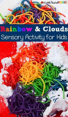 Rainbow and Clouds Sensory Play Activity for Kids Rainbow Noodles and Fluffy Clouds Sensory Activity: Shaving Cream Sensory fun perfect for spring, learning about weather, or having some St. Patrick's Day fun with the kids. Weather Activities Preschool, Rainbow Activities, Rainbow Crafts, Spring Activities, Preschool Learning, Kids Rainbow, Preschool Printables, Preschool Science, Kindergarten Art
