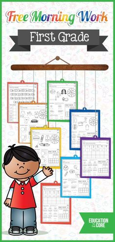 Free First Grade Morning Work for Two Weeks! Fun Common Core Aligned printables for math, literacy, and language arts! Students will love these activities when they come in for their morning routine.
