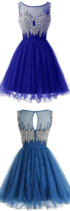 Affordable Royal Blue Prom Dresses,A-line Scoop Neck Homecoming Dresses,Tulle Short/Mini Cocktail Dress,Pearl Detailing Evening Party Gowns