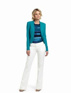 The Limited - No-Closure Jacket: $118.00  Geo-Pattern Sweater: $49.90  Drew Edge-Seam Wide-Waist Bootcut Pants: $74.90