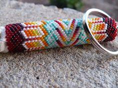 Peyote stitch beaded keychain, Native American Indian handmade