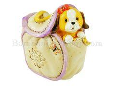 Canino e gattino in borsetta salvadanaio in resina decorata #borsetta #canino #bomboniera #faidate