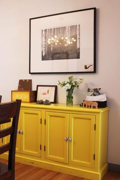 Dining room credenza idea - A Interior Design Painted Sideboard, Painted Furniture, Yellow Cupboards, Diy Home Decor, Room Decor, Fancy, Furniture Making, Home Projects, Architecture