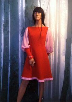 "MinSin, orange wool dress with pink chiffon sleeves. ""Elenora"""