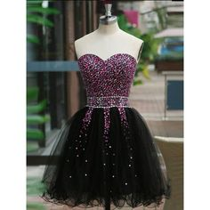 2017 Homecoming Dress Sweetheart Black Sequins Short Prom Dress Party... ($146) ❤ liked on Polyvore featuring dresses, sequin bridesmaid dresses, cocktail prom dress, bridesmaid dresses, short cocktail dresses and holiday cocktail dresses