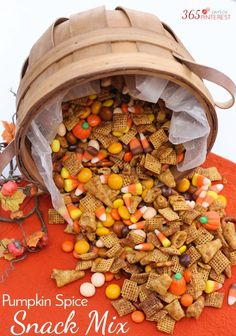 The combination of salty and sweet Chex Mix treat with just a touch of spicy cinnamon makes this Pumpkin Spice Snack Mix perfect for fall! Pretzels Bugles Candy Corn Butterscotch M&M's and more! Fall Snacks, Fall Treats, Fall Snack Mixes, Halloween Treats, Halloween Party, Fall Desserts, Fall Party Foods, Fall Party Ideas, Halloween Buffet