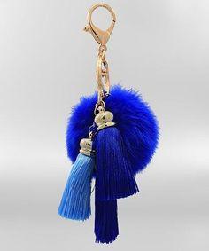 Blue Pompom & Tassel Keychain - KEY495BL-Tee for the Soul