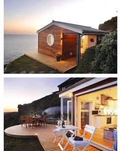 "Its amazing what you can have in a tiny house and then add bi-fold doors and deck for that extra outdoor living area ""The Edge"", a small vacation retreat rental overlooking Whitsand Bay in Cornwall, UK by @uniquehomestays #tinyhouses"