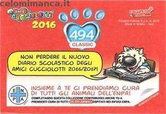 Amici Cucciolotti 2016: Retro Figurina n. 494 Gnu Striato