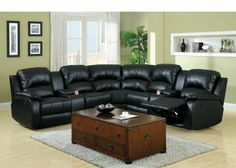 "3 pc Wolcott Contemporary black Bonded Leather Reclining Sectional Sofa Set with center drink consoles. This Sectional has a recliner one each end with a storage drink console next to armless chairs and a corner wedge and measures: 117""L x 117"" W x 40"" D x 40""H. Some Assembly May Be Required. SKU 	CM6557BP"