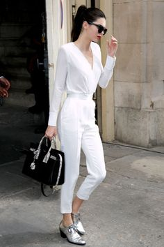 Come say hi -> more styles inspo: www.instagram.com/vv.moodboard fashion style women outfit all white Kendall Jenner in a white jumpsuit and metallic oxfords