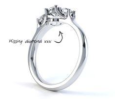 "Bespoke ""Kissing"" diamond ring from Serendipity Diamonds one of many custom made designer engagement rings."