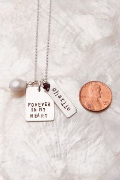 Want! Forever in My Heart Birthmom Necklace, Birth Mother Gift, Personalized Hand Stamped Jewelry