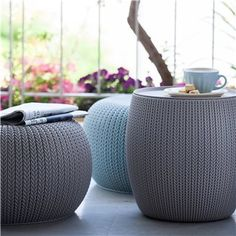 For the modern bohemian patio, the Keter Cozy Urban 3 pc. Nesting Conversation Set is the only choice. All the cozy comfort of cushy indoor. Bohemian Patio, Modern Bohemian, Outdoor Pouf, Outdoor Decor, Outdoor Living, Coffee Table Alternatives, Funky Rugs, Offset Umbrella, Knitted Pouf