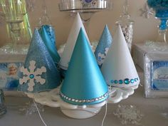 Diy party hats for a Disney Frozen party.