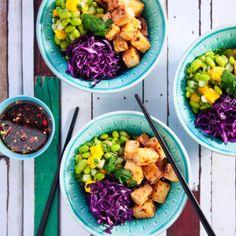 Poke bowl med frasig tofu