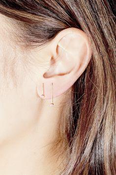 Bezel Line Earrings (Gold) – SARAH & SEBASTIAN