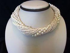 Vintage Pearl Choker Necklace Glass Torsade Gold Plate Wedding Bridal | eBay
