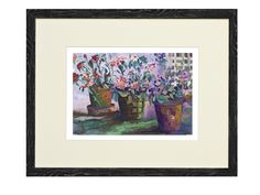 """Gyclee print, 16 x 20"""", matted and/or framed  three flower pots with a white lattice design back"""