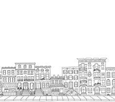 Custom Brownstone, Building, Block, City Illustrated Drawing. $50.00, via Etsy.