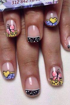 Uñas locas Gelish Nails, Manicure And Pedicure, Toe Nails, Simple Nail Art Designs, Easy Nail Art, Nail Designs, French Tip Nails, Fancy Nails, Spring Nails