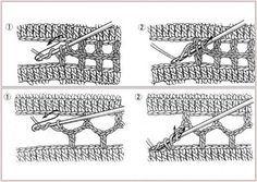 Unione quadrati: in queste foto vediamo come unire quadrati all'uncinetto. Utilissimi esempi per realizzare le creazioni che prevedono l'unione di moduli.