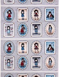 tela infantil gris de Santoro con panel con lindas niñas de pelo negro en marcos