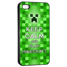 KCCO Keep Calm And Play Minecraft Creeper Chive On Apple iPhone 4/4s/5 Black/White Case