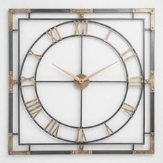 We love the industrial-chic styling of this square wall clock crafted of metal with gold and distressed black finishes, and featuring rivet-like accents. Roman numerals add an air of sophistication to this timeless timepiece. Wall Clock Craft, Gold Wall Clock, Big Wall Clocks, Clock Art, Gold Rooms, Gold Walls, Hanging Clock, Hanging Wall Art, Black Gold Jewelry